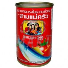 Mackerel in tomato sauce. 155g Three ledy cooks.