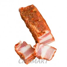 Pork belly salted with garlic, pepper, coriander and paprika. Without skin