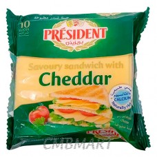 PRESIDENT SANDWICH WITH CHEDDAR PROCESSED CHEESE10SL 00G