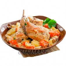 Rabbit stewed in sour cream with potatoes. 400 g